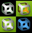 smoothed 3d cube with openings vector image