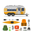 travel life poster with camping trailer vector image vector image