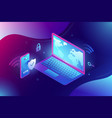 trendy isometric 3d vpn security software for vector image
