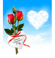 valentine background with heart cloud and red vector image vector image