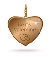 valentines day design with gold heart on a chain vector image