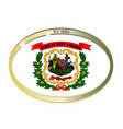 west virginia state flag oval button vector image vector image