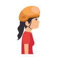 woman with bicycle helmet vector image