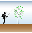 work in the garden spraying of trees with vector image