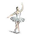 color line sketch of dancing ballerina vector image