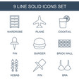 9 solid icons vector image vector image
