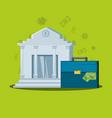 bank building with portfolio suitcase vector image vector image