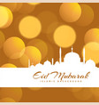 beautiful eid mubarak bokeh background design vector image vector image