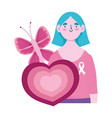 breast cancer awareness month woman butterfly vector image vector image