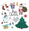 bright colorful set of doodle christmas elements vector image