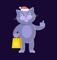 cat wearing santas hat vector image vector image