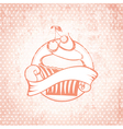 Cherry Cupcake Label vector image vector image