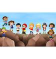 Children standing on cliff vector image vector image