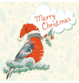 Christmas hand drawn ink retro postcard with bird vector image vector image