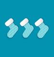 christmas paper cut santa claus three socks vector image