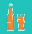 Cocktail cold beer or juice bottle with glass vector image vector image