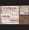 coffee words pattern vector image vector image