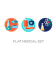colorful flat medical icons set vector image vector image
