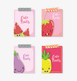 cue fruits cards cartoons vector image vector image