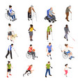 disabled people isometric set vector image vector image