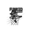 funked ball mascot dark colors with scratch vector image vector image