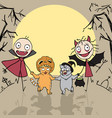 funny company people and cats hurry to halloween vector image