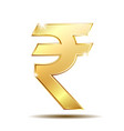golden rupee currency icon isolated on white vector image vector image