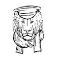 hand drawn lion head with hat and skarf lion face vector image vector image