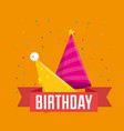 happy birthday celebration card with colors hats vector image