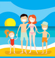 happy family on the beach summer vacation vector image