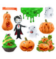 happy halloween carved pumpkins cupcake sticky vector image vector image