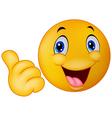 Happy smiley emoticon giving thumbs up vector image vector image