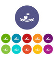 healthy food icons set color vector image