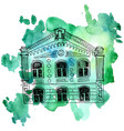 house at watercolor background vector image vector image