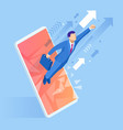 isometric concept business mobile marketing and e vector image