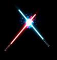lightsaber two crossed light swords fight blue vector image