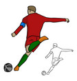 male soccer player shoot the ball with left foot vector image