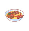 meat with vegetables isolated icon vector image vector image