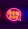 neon chat frame 20 off text banner night sign vector image vector image