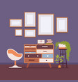 retro interior with wall frames for copy space vector image vector image