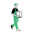 safe delivery man guy courier package parcel vector image