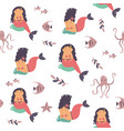seamless pattern with cute mermaids and sea vector image vector image