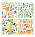 set of hand drawn seamless pattern with vegetable vector image vector image