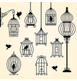 Set of vintage bird cages vector image