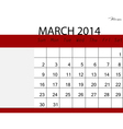 simple 2014 calendar march vector image vector image
