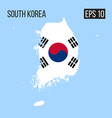 south korea map border with flag eps10 vector image