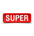 Super red 3d square button isolated on white vector image vector image