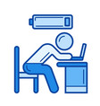 tired worker line icon vector image vector image