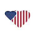 two hearts painted in the colors of the us flag vector image vector image
