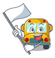 with flag school bus mascot cartoon vector image